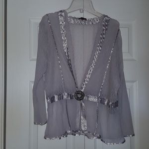 NWT Komarov lace and satin wrap cardigan
